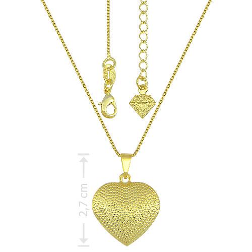 Gargantilha folheada a ouro e pingente em forma de coração craquelado