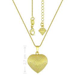 Gargantilha folheada a ouro e pingente em forma de coração craquelado - Clique para maiores detalhes