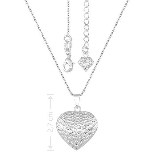 Gargantilha folheada a prata e pingente em forma de coração craquelado