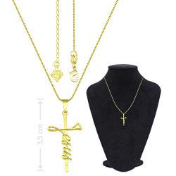 Gargantilha folheada a ouro c/ crucifixo escrito Jesus - Clique para maiores detalhes
