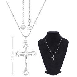 Gargantilha folheada a prata c/ crucifixo vazado - Clique para maiores detalhes