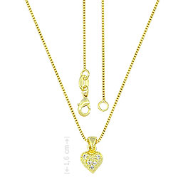 Gargantilha folheada a ouro e pingente em forma de coração c/ Micro Zircônias - Clique para maiores detalhes