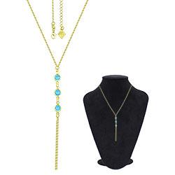 Gargantilha Tiffany Inspired folheada a ouro c/ pedras azul claro - Clique para maiores detalhes