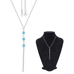 Gargantilha Tiffany Inspired folheada a prata c/ pedras azul claro - Clique para maiores detalhes