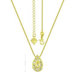 Gargantilha folheada a ouro e pingente em forma de gota c/ micro zircônias - Clique para maiores detalhes