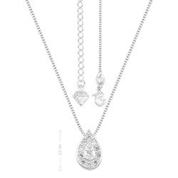 Gargantilha folheada a prata e pingente em forma de gota c/ micro zircônias - Clique para maiores detalhes
