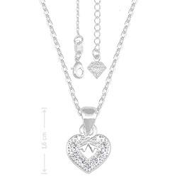 Gargantilha folheada a prata e pingente em forma de coração c/ micro zircônias - Clique para maiores detalhes