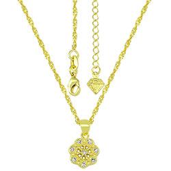 Gargantilha folheada a ouro e pingente em forma de flor c/ micro zircônias - Clique para maiores detalhes