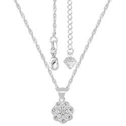 Gargantilha folheada a prata e pingente em forma de flor c/ micro zircônias - Clique para maiores detalhes