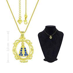 Gargantilha folheada a ouro e medalha de N. Sra. Aparecida c/ strass - Clique para maiores detalhes