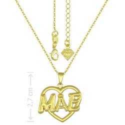 Gargantilha folheado a ouro e pingente Mãe em forma de coração - Clique para maiores detalhes