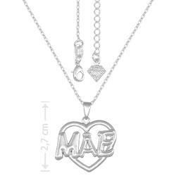 Gargantilha folheado a prata e pingente Mãe em forma de coração - Clique para maiores detalhes