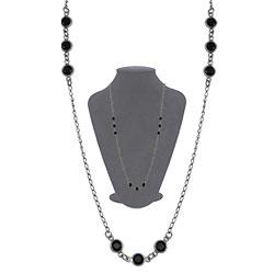 Gargantilha longa Tiffany Inspired c/ banho onix e pedras pretas - Clique para maiores detalhes