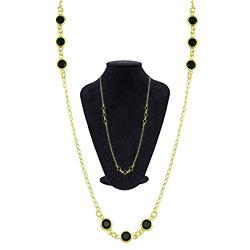 Gargantilha longa Tiffany Inspired folheada a ouro c/ pedras pretas - Clique para maiores detalhes