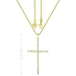 Gargantilha folheada a ouro e pingente de strass em forma de cruz - Clique para maiores detalhes