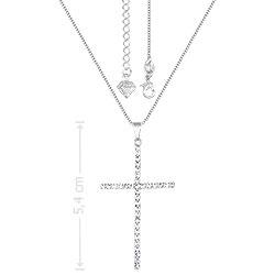 Gargantilha folheada a prata e pingente de strass em forma de cruz - Clique para maiores detalhes