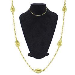 Gargantilha choker folheado a ouro c/ adereços em forma de búzios - Clique para maiores detalhes