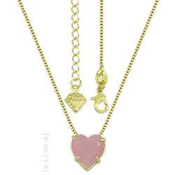 Gargantilha folheada a ouro e pingente c/ pedra calcedônia em forma de coração - Clique para maiores detalhes