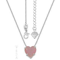 Gargantilha folheada a prata e pingente c/ pedra calcedônia em forma de coração - Clique para maiores detalhes