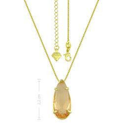 Gargantilha ponto de luz folheada a ouro c/ pedra de vidro na cor pêssego - Clique para maiores detalhes