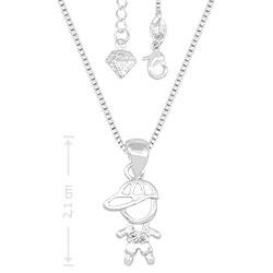 Gargantilha folheada a prata e pingente menininho c/ micro zircônias - Clique para maiores detalhes