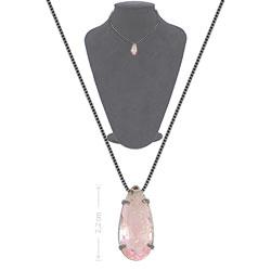 Gargantilha ponto de luz c/ banho onix e pedra fusion na cor rosa - Clique para maiores detalhes