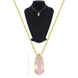 Gargantilha ponto de luz folheada a ouro c/ pedra fusion na cor rosa - Clique para maiores detalhes