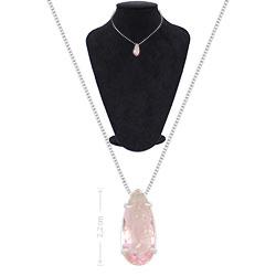 Gargantilha ponto de luz folheada a prata c/ pedra fusion na cor rosa - Clique para maiores detalhes