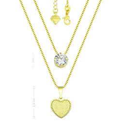 Gargantilha dupla folheada a ouro c/ zircônia e coração - Clique para maiores detalhes