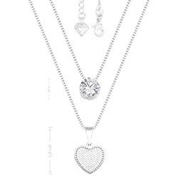 Gargantilha dupla folheada a prata c/ zircônia e coração - Clique para maiores detalhes