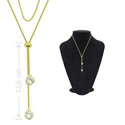 Gargantilha folheada a ouro c/ zircônias de 7 mm e fecho gravata (ajustável) - Clique para maiores detalhes