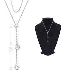 Gargantilha folheada a prata c/ zircônias de 7 mm e fecho gravata (ajustável) - Clique para maiores detalhes