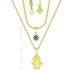 Gargantilha dupla folheada a ouro c/ pingentes Olho Grego e Mão de Fátima - Clique para maiores detalhes