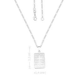 Gargantilha masculina folheada a prata e medalha com detalhe vazado em forma de cruz - Clique para maiores detalhes