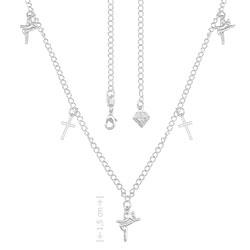 Gargantilha folheada a prata com pingentes de cruz e pingentes Fé - Clique para maiores detalhes