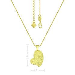 Gargantilha folheada a ouro e pingente em forma de coração com estampas - Clique para maiores detalhes