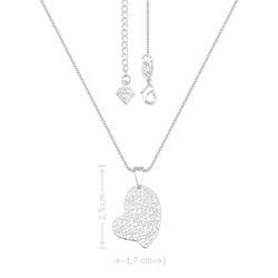 Gargantilha folheada a prata e pingente em forma de coração com estampas - Clique para maiores detalhes