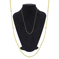Gargantilha longa folheada a ouro com corrente veneziana e bolinhas - Clique para maiores detalhes