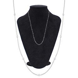 Gargantilha longa folheada a prata com corrente veneziana e bolinhas - Clique para maiores detalhes