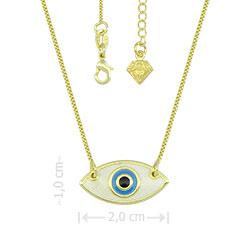 Gargantilha folheada a ouro com pingente Olho Grego - Clique para maiores detalhes