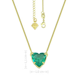 Gargantilha folheada a ouro e pingente com pedra de vidro lapidado em forma de coração - Clique para maiores detalhes