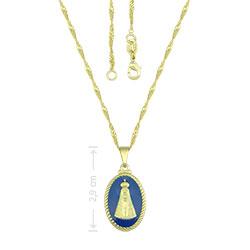 Gargantilha folheada a ouro e medalha de N.Sra. Aparecida com resina - Clique para maiores detalhes
