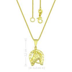 Gargantilha country folheada a ouro com pingente em forma de cavalo e ferradura - Clique para maiores detalhes