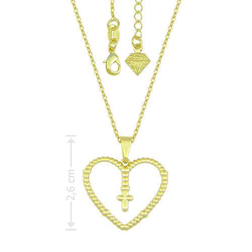 Gargantilha folheada a ouro e pingente em forma de coração com cruz