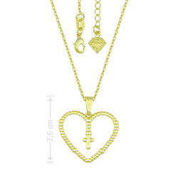 Gargantilha folheada a ouro e pingente em forma de coração com cruz - Clique para maiores detalhes
