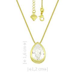 Gargantilha ponto de luz folheada a ouro com zircônia em forma de gota - Clique para maiores detalhes