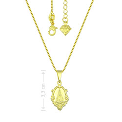 Gargantilha folheada a ouro e medalha de N. Sra. Aparecida - Clique para maiores detalhes