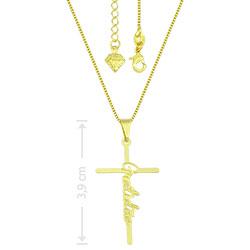 Gargantilha folheada a ouro com crucifixo gratidão - Clique para maiores detalhes