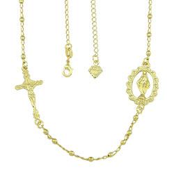 Gargantilha folheada a ouro com medalha de N. Sra. das Graças e crucifixo - Clique para maiores detalhes