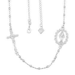 Gargantilha folheada a prata com medalha de N. Sra. das Graças e crucifixo - Clique para maiores detalhes